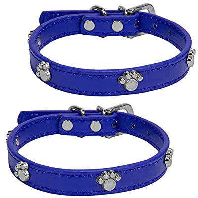"""VanGoddy Accessories Strong Thick Small Leather Dog Collar 7"""" to 10.5 inches, Paw Print Design 2 Pack, Blue"""