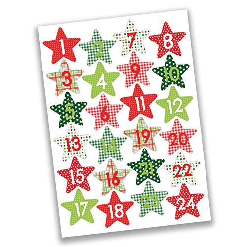 Papierdrachen 24 Pegatinas de números para Calendario de Adviento Estrellas Rojas y Verdes No 37 - para Crear y Decorar