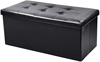 Hstore Storage Bench, Faux Leather Folding Storage Bench Foot Rest Stool Household Storage Folding Storage Sofa Stool Clothing Store Shoes Bench (Ship from USA)