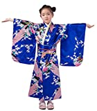 Yue Lian Mädchen Blumen&Pfau Kimono mit Obi-Gürtel Cosplay Yukata Japanisch (Höhe:120-130cm, Königsblau)