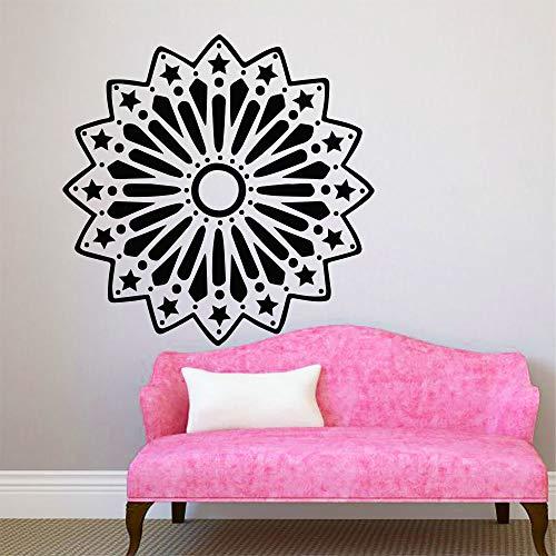 Decal Mandala Lotus Flower Pattern Yoga Ornament OM Indian Buddha Symbol Vinyl Wall Sticker Bedroom Living Room Studio Home Decoration Art Mural Poster