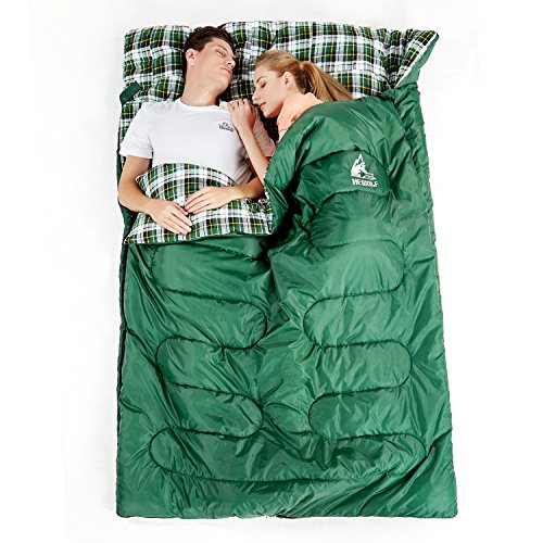 Hewolf Flannel Double Sleeping Bag - Waterproof Camping Extra Wide 2 Person Sleeping Bags for Travel Indoor Outdoor with Compression Sack (Double Size Green, 30-50F 5-10℃(3.2kg))