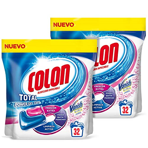 Colon Total Power Gel Caps Vanish Detergente para lavadora con Quitamanchas, formato Cápsulas - Pack de 2 - Hasta 64 dosis