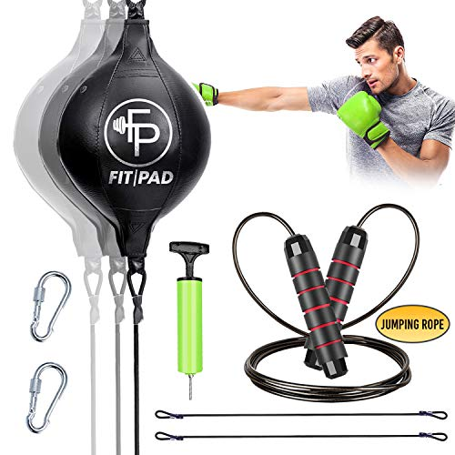 Fitpad Reflex Bag I Double End Punching Ball for Boxing and MMA I Complete Kit Includes Jump Rope and Headband I Sports Punch Bag for Adults, Kids, Men and Women