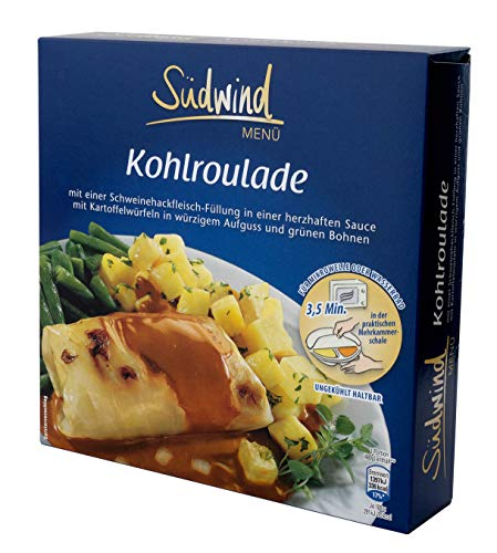 Köstliche Kohlroulade mit Hackfüllung in herzhafter Sauce mit Kartoffelwürfeln in würzigem Aufguss und grünen Bohnen – Fertiggerichte für die Mikrowelle / Wasserbad - Südwind Lebensmittel