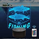 3D Illusion Lamp Fishing Decoration Night Light Big Fish Visual with Remote 16 Color Changing...