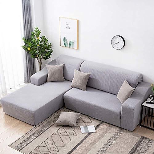 XHNXHN Funda de sofá elástica para sofá seccional, 1 Pieza de Funda de sofá en Forma de L con Protector de Muebles, Funda de sofá de Tela Jacquard de Spandex para Perros Gris Claro 57-72 Pulgadas