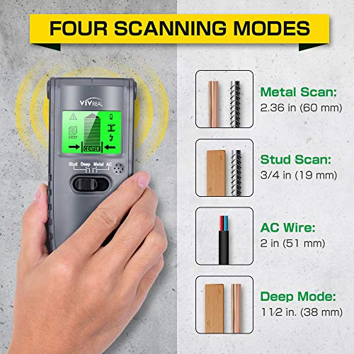 Stud Finder Wall Scanner - 4 in 1 Electric Wood Detector, Sensor Wall Scanner with LCD Display, Beam Finder Center…
