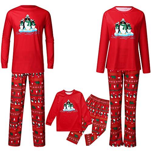 Battnot Weihnachten Schlafanzug Rot Familie Bekleidungssets Weihnachtspyjamas Pinguin Druck Pullover Tops+Hosen Strampler, Mama Papa Kleinkinder Baby Hut Nachtwäsche Christmas Party Xmas Kleidungs