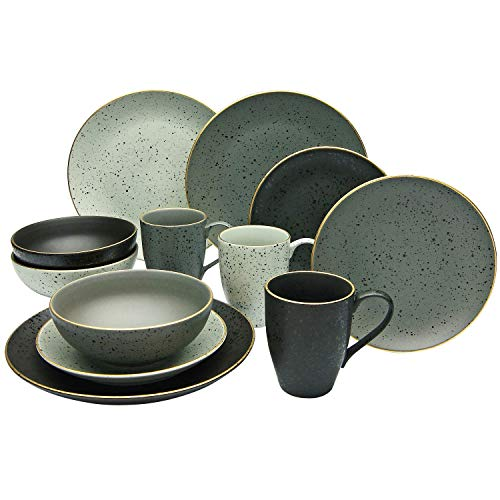 Creatable, 14634, series INDUSTRIAL GOLD, set of dishes, combination service 16 pieces, Stoneware