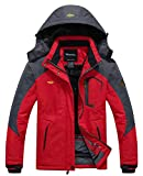 Wantdo Femme Anorak Veste de Ski Imperméable Doublure en Polaire Coupe-Vent à Capuche Amovible Coupe-Pluie Rouge FR:M (Taille Fabricant:S)
