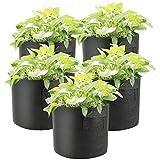 ZYYRSS Lot de 5 sacs de plantation non tissés avec poignées, pots en tissu respirant pour plantes plus saines, fleurs, intérieur et extérieur 5 Gallon noir
