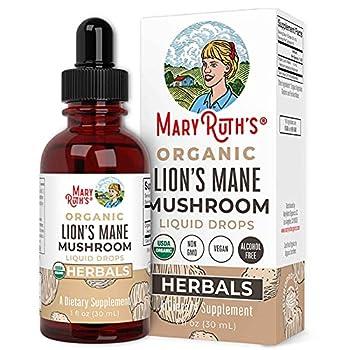 USDA Organic Lion s Mane Mushroom by MaryRuth s   Nervine Neuroprotective Herbal Liquid Drops   Non-GMO Vegan Alcohol Free Tincture 1 oz 60 Servings
