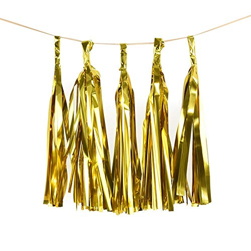 JINSUO 1Set Mixed DIY Tissue Paper Tassel Garland for Wedding Kids Unicorn Birthday Party Decorations Baby Shower Favors Supplies (Color : 5pcs Shiny Gold)