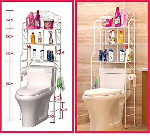 Multi-functionele badkamer opslag plank geschikt voor over wc wasmachine planken pakket rack Sundries opslag rack vloer type drie lagen met papier houder Zwart
