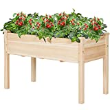 AMERLIFE Raised Garden Bed 48x30x24 Inch - Elevated Wooden Planter Box Stand with Legs for Vegetable Flower Herb Outdoor Gardening Backyard Patio,30 Inch Height 380 lbs Capacity