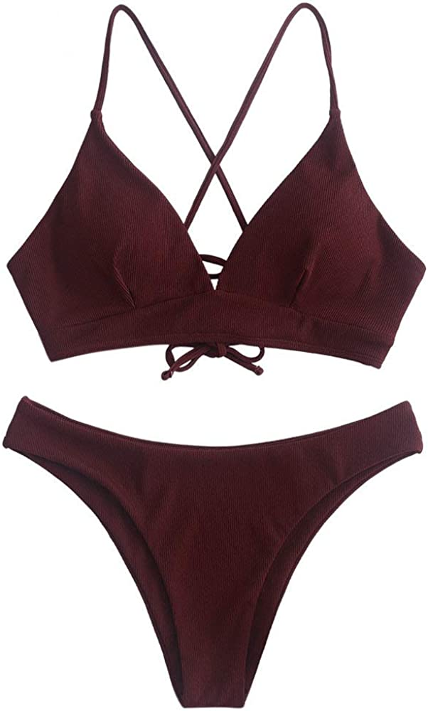 ZAFUL Two Pieces Lace Up Criss-Cross Ribbed Bikini Set Sexy Push Up Top Padded Triangle Bathing Suit