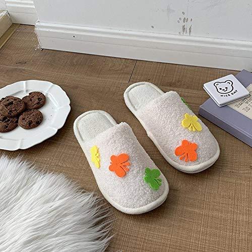 B/H AlgodóN Caliente Suave Antideslizante Slippers,Zapatillas de algodón para Mujer, Felpa de decoración del hogar para otoño e Invierno-White_39,Casa De Mujer Zapatillas Peluche Mujer