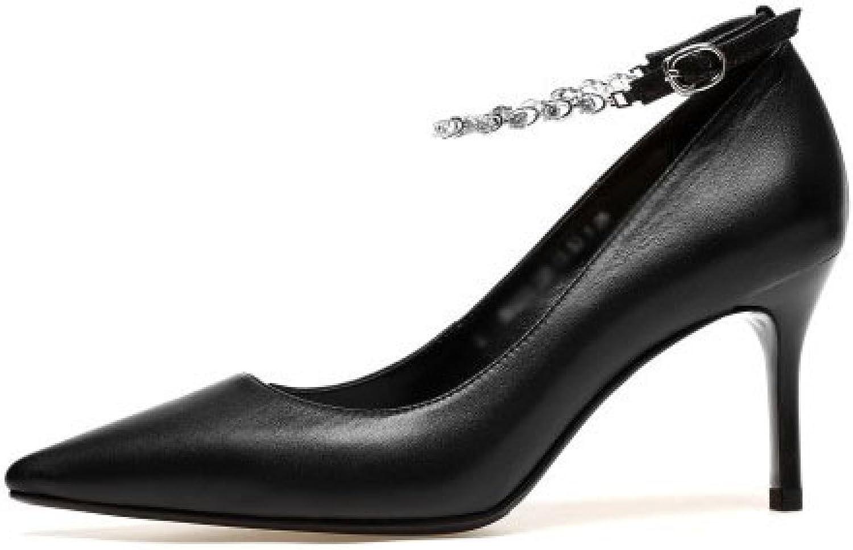 DKFJKI Damen Damen Leder High Heels Stiletto Heels Pumps Spitze Schwarze Arbeitsschuhe Kleid Party Schuhe  große rabattpreise