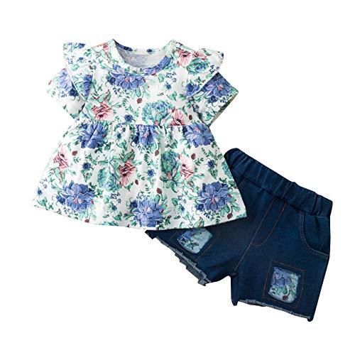 Traje de Verano de Moda para Niña Recién Nacida Camisa de Manga Corta con Estampado Floral Pantalones Cortos de Mezclilla Azul Traje para 3-18 M