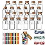 Pajaver 25 pcs frascos de vidrio con tapones de corcho, frascos pequeños vacíos de 25 ml, contenedor de botellas de deseos para manualidades, fiestas, bodas, decoración, accesorios de almacenamiento