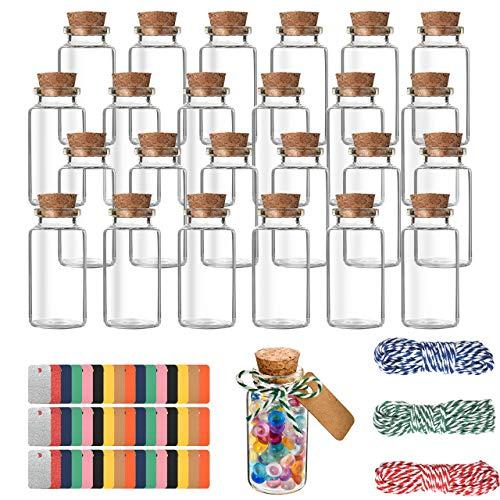 Pajaver 25x25 ml Mini Bottiglie Vetro con Tappo Sughero Vasetti Vetro Piccoli con Corda e Etichette Piccoli Bottiglia Desiderio per Matrimoni Festa Decorazione,Pieno di dolci e spezie