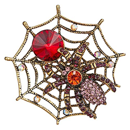 AETOK 1 broche de araña de diamantes de imitación vintage de Halloween (color almacenado)