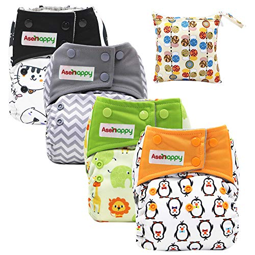 Asenappy All in One Cloth Diaper 4 Pack Reusable AIO Sewn Inserts with Pocket Overnight (Unisex)