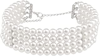Multi Strand Faux Pearl Choker Necklace for Women Girls 9.45-14.17 inches