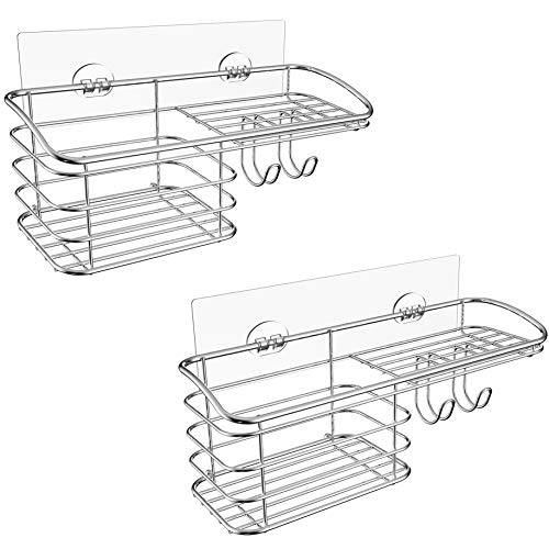 HOME SO Shower Caddy Basket with Adhesive, 2 pack - Large Rust-Proof Stainless Steel Bathroom Wall Mounted Organizer Shelf Rack for Shampoo, Soap, Razor, Bath Accessories - Easy Install No Drilling