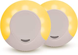 Sleep Aid Amber LED Night Light Plug in with Dusk to Dawn Sensor, Low Blue LED Promotes melatonin Production and Healthy Sleep, ON-Off-Auto Toggle, 2-Pack