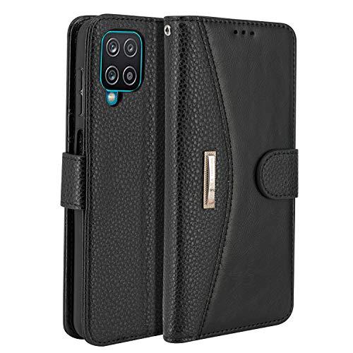 LOKAKA Funda de piel para Samsung Galaxy A12, funda de teléfono móvil con ranuras para tarjetas, aspecto de lujo, funda tipo libro para Samsung Galaxy A12, color negro