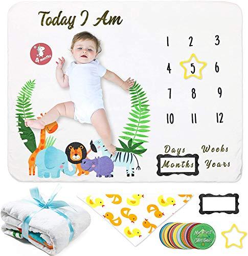Waterinc - Coperta per neonati, in flanella, per bambini, motivo: giungla con animali