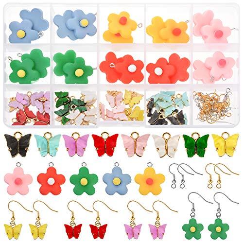 JuneJour Juego de 80 colgantes de mariposa y flores para pendientes, pulseras, collares y llaveros,...