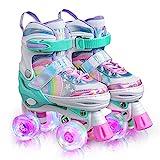 Sulifeel Regenbogen Verstellbar Rollschuhe für Kinder mit Leuchtenden Rädern Roller Skates für Mädchen (Sparkle, Large - Big Kids(36-39EU))