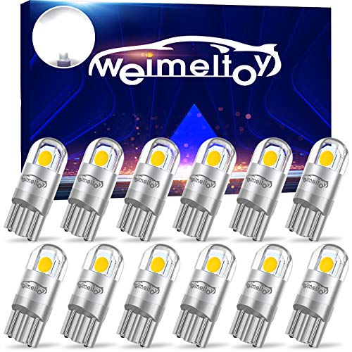 WEIMELTOY 194 Led Car Bulb 3030 Chipset 2SMD T10 194 168 W5W Led Wedge Light Bulb 1.5W 12V License Plate Courtesy Step Map Lights Trunk Lamp Clearance Lights (12pcs)