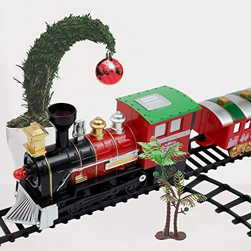 You's Auto Juego 21pcs de Pequeño Tren de Navidad con Sonido Realista y Luces Tren Clásico Infantil Juguete Electrónico Decoraciones de Navidad para Niños Jardín de Infancia Festivo