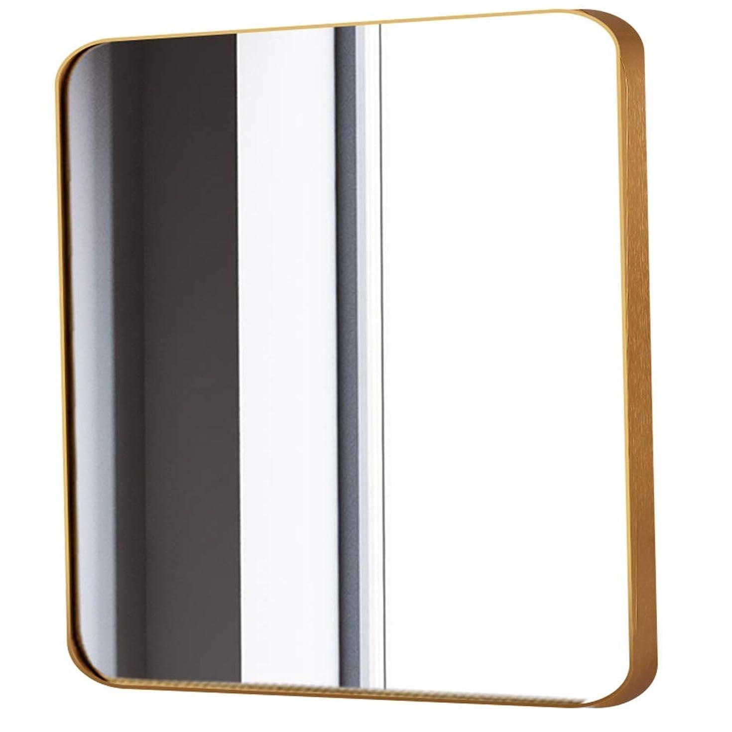 思いやりスポーツの試合を担当している人ハッピーRXY-鏡 北欧スタイルのバスルームミラー、壁掛けスクエアバニティミラー、HD防爆ミラー (Color : Gold, サイズ : 50x50cm)
