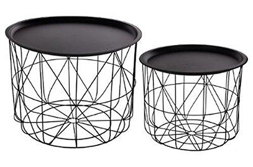 PEGANE Lot de 2 Tables café Coloris Noir en Fer et Acier - Dim : D 43,5 x H 33,5 / D 53,5 x H 40 cm
