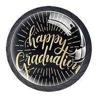 引き出しハンドルプル 引き出し装飾キャビネットノブドレッサー引き出しハンドル4個,幸せな黄金の卒業アート