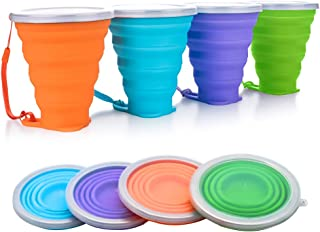 EJAYOUNGer Silicone Collapsible Cup, 4/2 Pcs Foldable Travel Camping Cup, Expandable Drinking Cup Set with Lids for Outdoor Camping/Hiking/Office and Home(270ml)