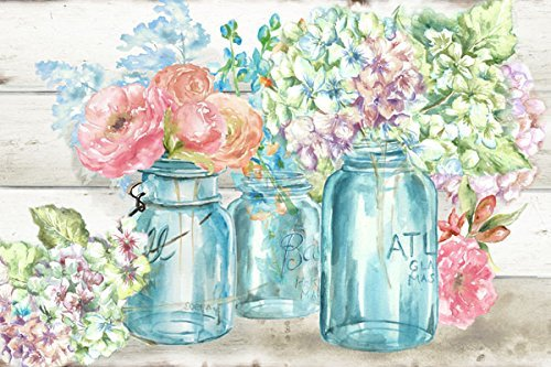 Gango Home Decor Beautiful Watercolor-Style Colorful Flowers in Mason Jar Floral Print by TRE Sorelle Studios; One 20x16in Fine Art Giclee Print