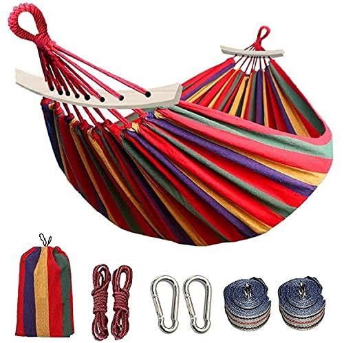 Colel Double Hammock, 2 Person Cotton Canvas Hammock 450lbs Portable Camping Hammock with Carrying Bag Two Anti Roll Balance Beam Metal Carabiner Ropes and Tree Straps for Travel Patio Garden (Red)