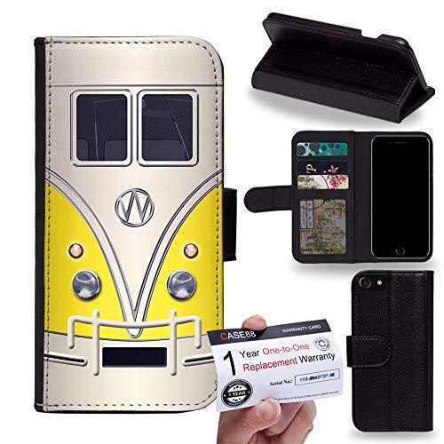 PU Leather Flip case Phone Wallet for [Huawei nova 4] - Art Fashion Retro Bus Mini Van (Yellow)