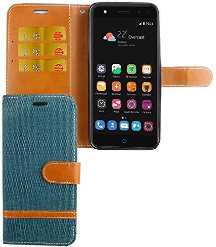 König Design Handy-Hülle Kompatibel mit ZTE Blade V7 Lite Schutz-Tasche Hülle Cover Kartenfach Etui Wallet Grün