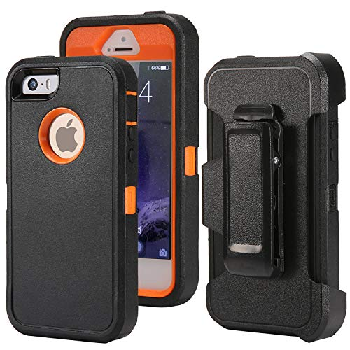 Defender Case for iPhone 5 5S / iPhone SE,[Impact Screen Protector][Heavy Duty][Drop Protection] Tough Rugged TPU Hybrid Hard Shell Case for iPhone SE 5S Black + Orange