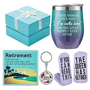 Funny Retirement Gifts For Any Retirees - Our Retirement theme gift set, Each thoughtfully crafted to celebrate the big retirement milestone. What a cute little gift to make retired people feel special, It adds some humor to many occasions; Perfect f...