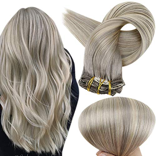 Full Shine Balayage Hair Clip In Extensions 120 Gram Clip Hair Extensions Human Hair Color 19A Ash Blonde Fading To Color 60 White Blonde Clip Extension Remy Hair 20 Inch
