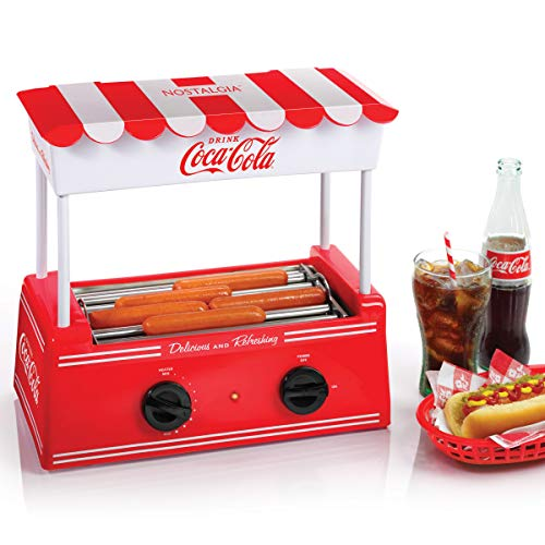 Nostalgia HDR565COKE Coca-Cola Hot Dog Roller and Bun Warmer, 8 Hot Dog and 6 Bun Capacity
