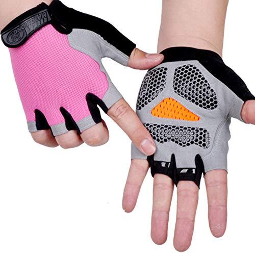 JklausTap Guantes deportivos antichoque para hombres y mujeres Guantes medio dedo transpirable antideslizante anti-sudor